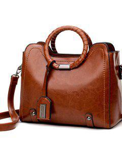 Shoulder Messenger Bag Ring Vintage Bag - Castanho