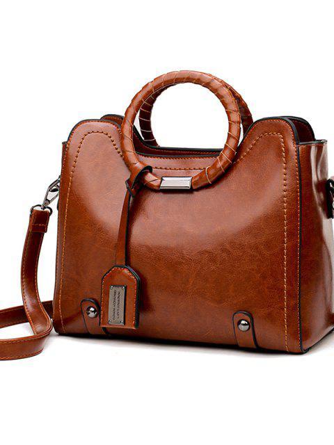 online Shoulder Messenger Bag Ring Vintage Bag - BROWN  Mobile