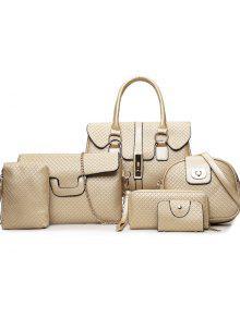 ستة صوفية الأزياء المربعات الصغيرة قفل زر الإناث حزمة أكياس - ذهبي