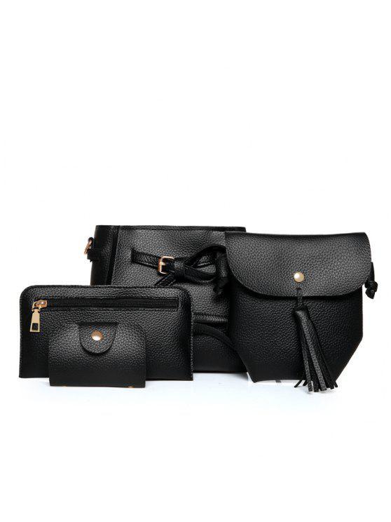 4 مرات الأزياء الليتشي الحبوب حزام الإناث حزمة أكياس - أسود