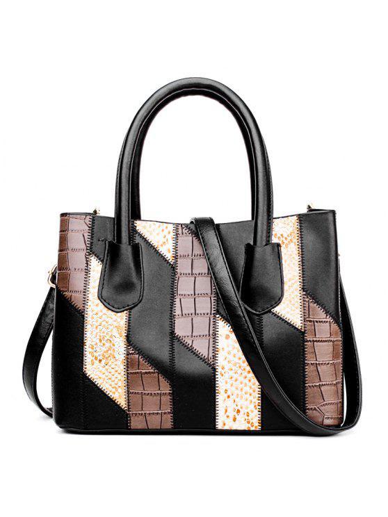 أزياء اللون مطابقة التمساح الحبوب حقيبة يد - أسود