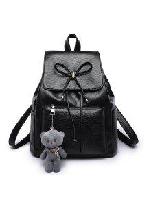أزياء الدب الزخرفية الليتشي الحبوب حقيبة الظهر - أسود