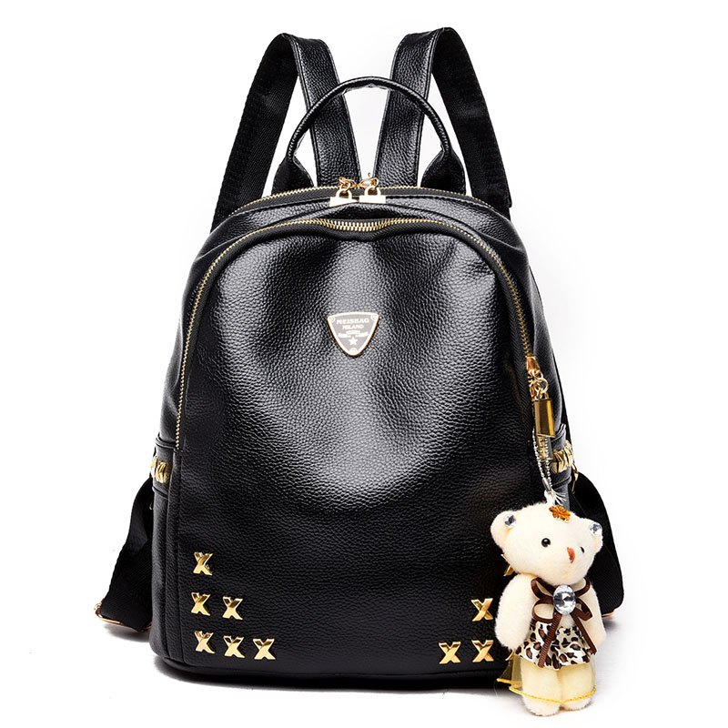 Fashion Rivet Litchi Grain Bear Decorates The Backpack Bag