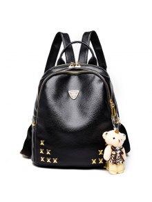الأزياء برشام الليتشي الحبوب الدب يزين حقيبة الظهر - أسود