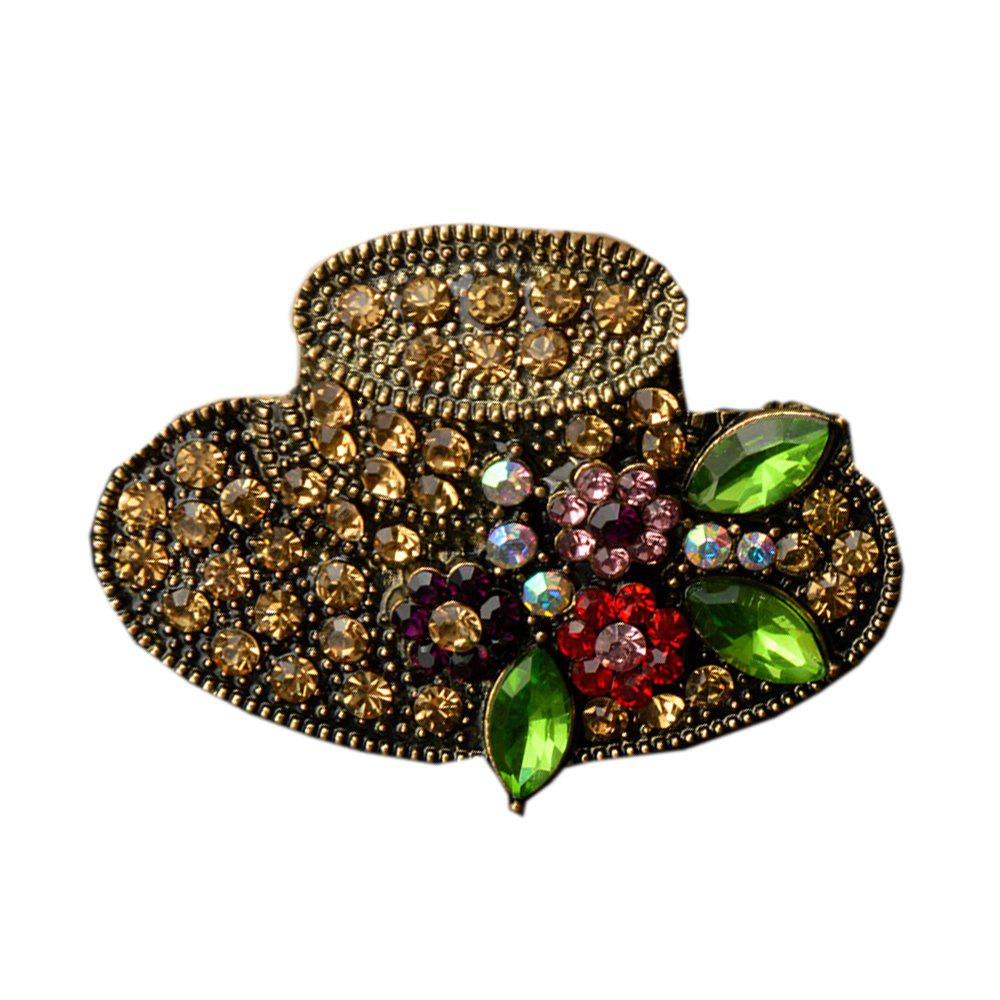Big Hat Rhinestone Brooch Vintage Flower Pins and Brooches Antique Fashion Jewelry Scarf Buckle Jewelry