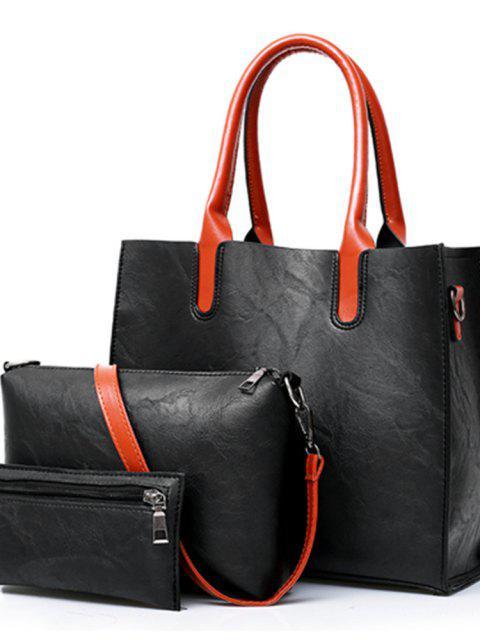 ثلاث قطع أزياء حقيبة بسيطة الكتف الكتف رسول حقيبة - أسود  Mobile