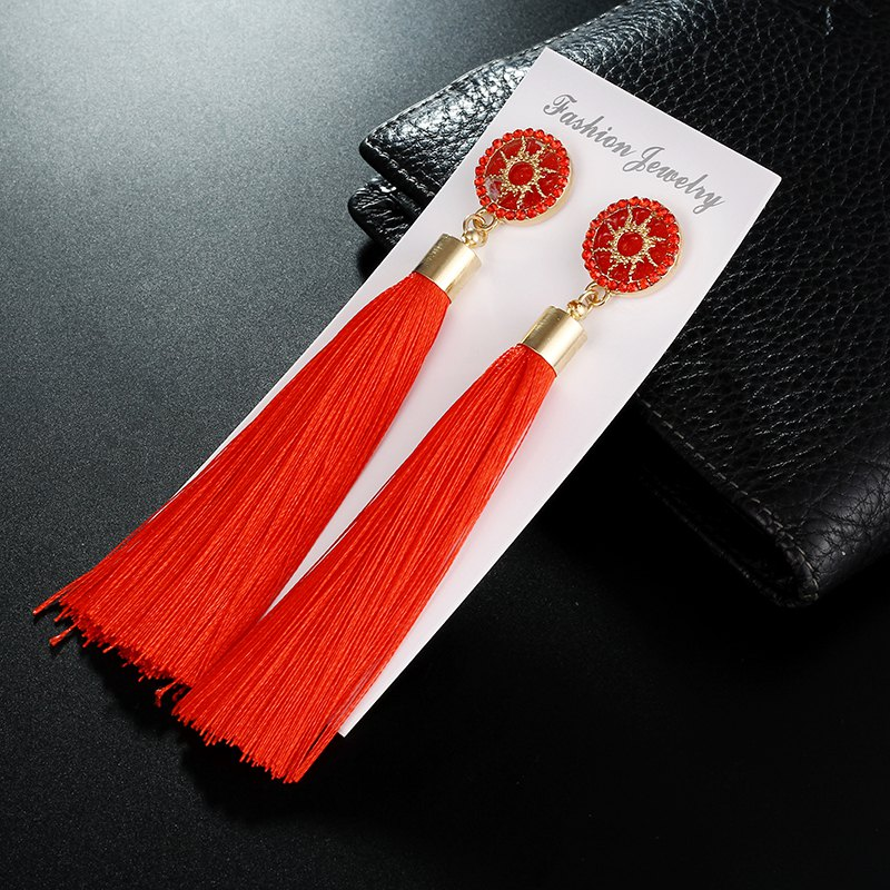 Fashion jewelry christmas party  Sun Long Tassel drop earrings for  Women