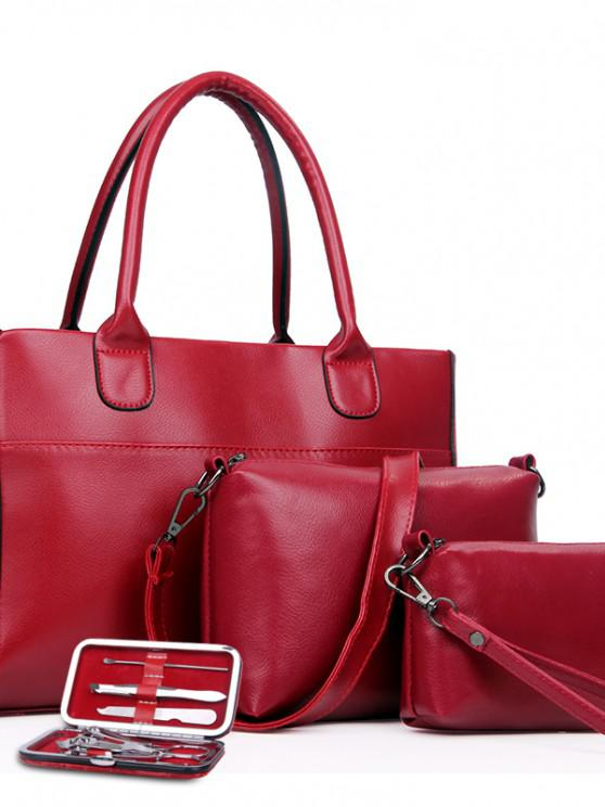Retro Nussknacker Vier Stücke Schulter Messenger Bag Handtasche - Rot