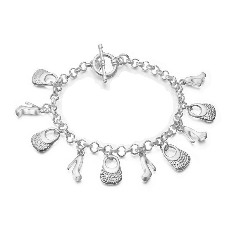 Fashion Design Vintage Handbag Shoe Bracelet Personality Silver-plated Charm Jewelry 248754401