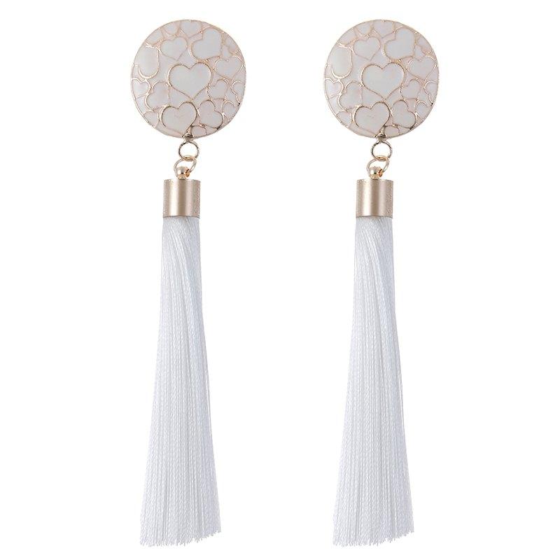 Fashion Jewelry Trendy Cute Romantic Style Tassels Earrings Heart Enamel Filigree Metal Long Drop Earrings for Women