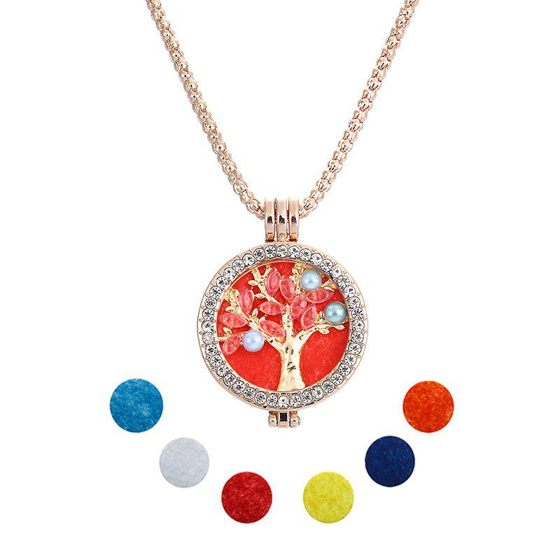 fashion brand crystal jewelry Essential Oil Diffuser tree of life Pendant Necklace Set with Copper Alloy Chain +Refill P