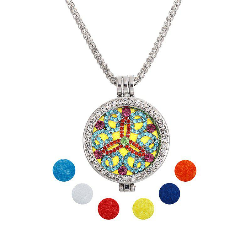 Fashion Jewelry New Essential Oil Diffuser Rhinestone Pendant Necklace with Copper Alloy Chain for Woman