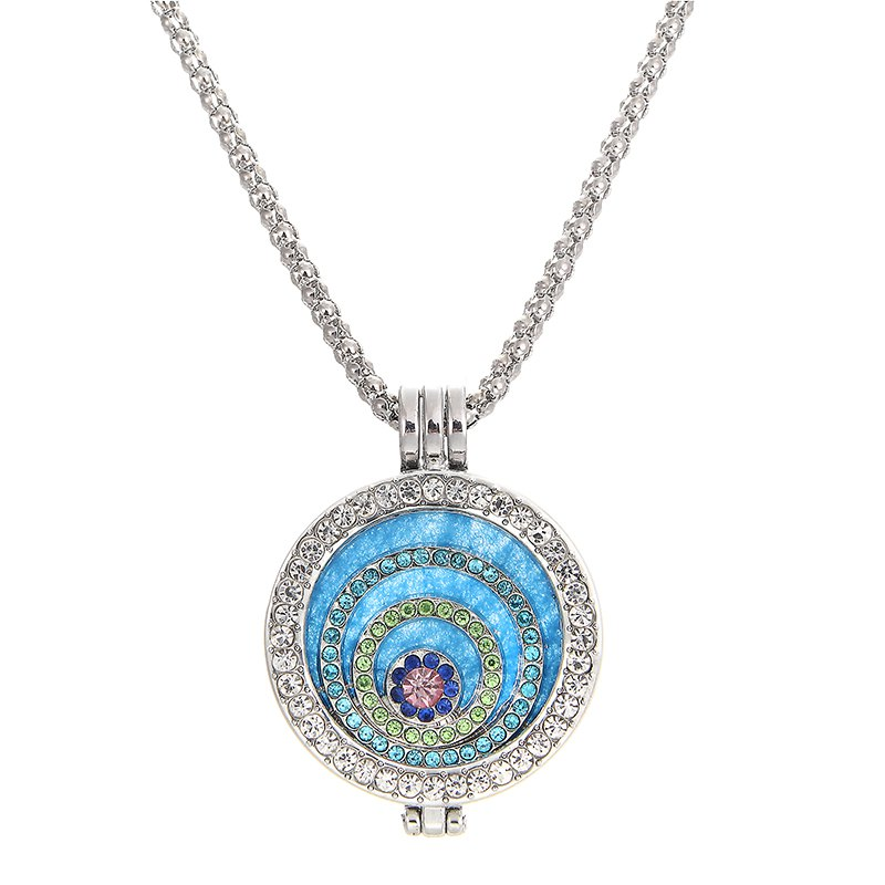 Fashion Jewelry Essential Oil Diffuser rhinestone round Pendant Necklace Set gift with Copper Alloy Chain for woman