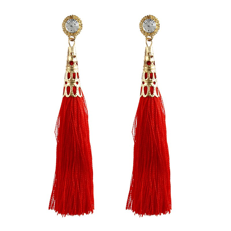 Fashion Jewelry Round Crystal Charm Drop Earrings Bohemia Party Style Long Tassels Earrings for Women