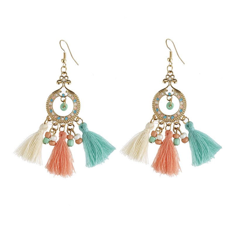 Fashion Jewelry Bohemia Vintage Style Round Small Beads Charm Baroque and Rococo Long Tassels Drop Earrings for Woman