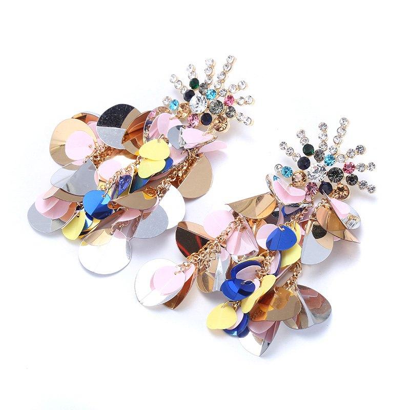 2018 New Luxury Round Heart Slice Crystal Drop Earrings For Women Vintage Boho Fashion Earrings Summer Jewelry