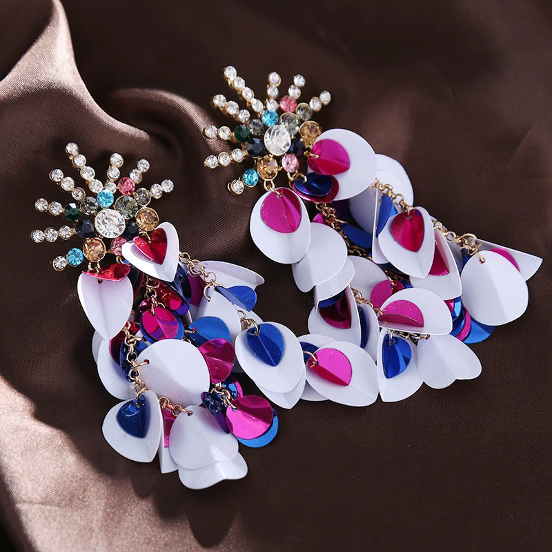 2018 New Luxury Round Heart Slice Crystal Drop Earrings For Women Vintage Boho Fashion Earrings Summer Jewelry