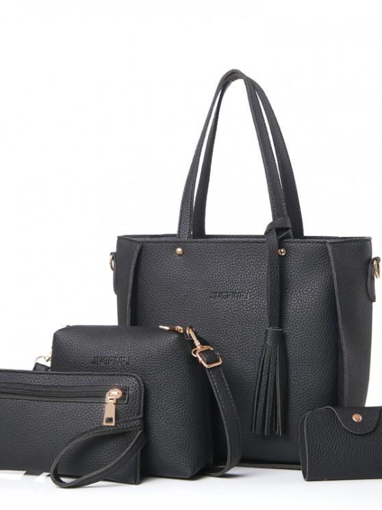 Vier Stücke von einfachen Mode Lychee Muster wilde Schulter Messenger Bag Handtasche - Schwarz