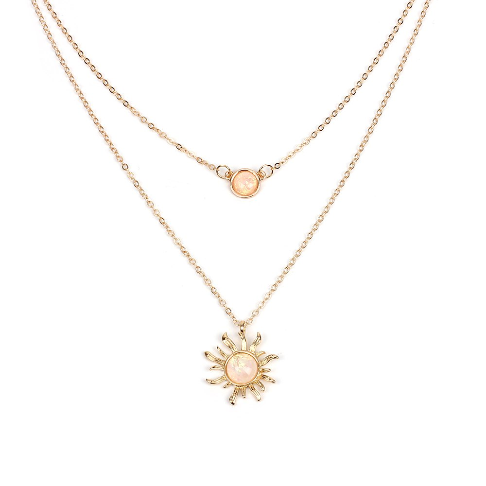 Fashion Wild Jewelry Multi-layered Sun Flower Necklace Female Opal Clavicle Chain Jewelry