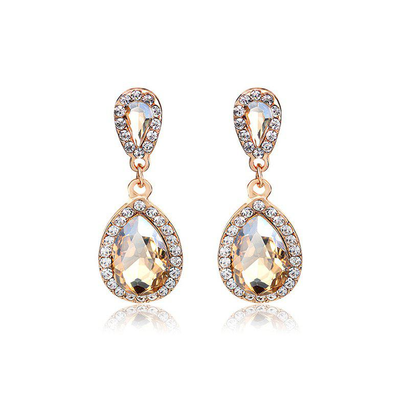 Image of 1.4*4.6cm Champagne Rhinestone Drop Earring for Wedding Party