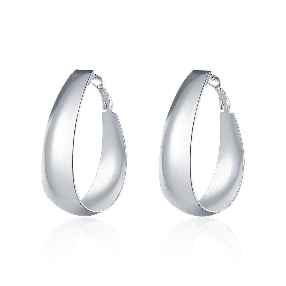 Fashion Creative Smooth Egg Shape Silver Plated Earrings Charm Jewelry