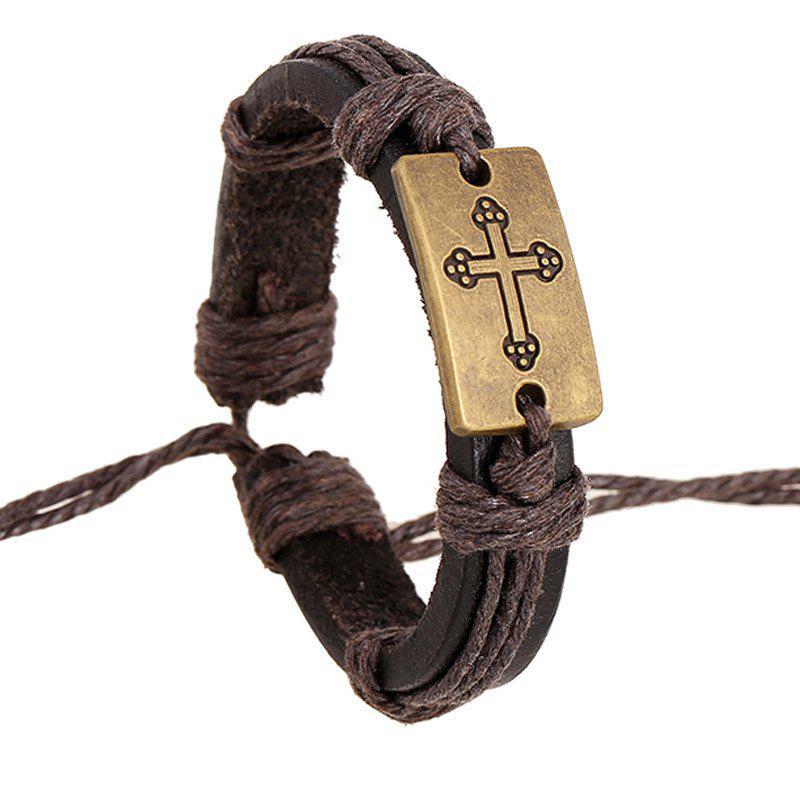 Vintage Hand Woven Leather Cross Bracelet Alloy Bangle Charm Jewelry