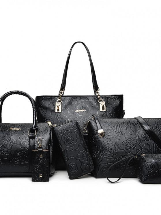 Mode Handtaschen Damenmode Handtasche Schulter Umhängetasche Große Sechs Stücke - Schwarz