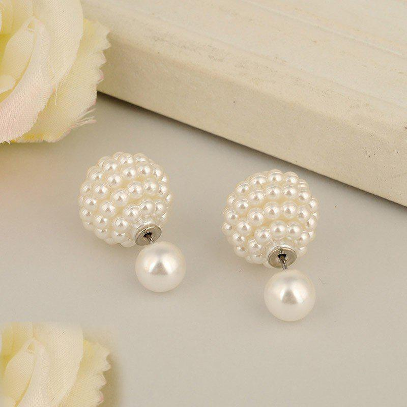 Fashion Jewelry Women Ball Earrings Double Pearl Stud Earrings For Women