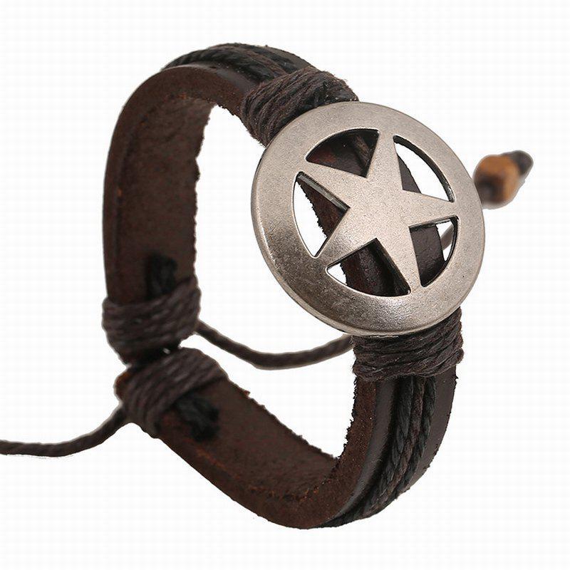Vintage Alloy Pentagram Leather Bracelet Hand Woven Bangle Charm Jewelry
