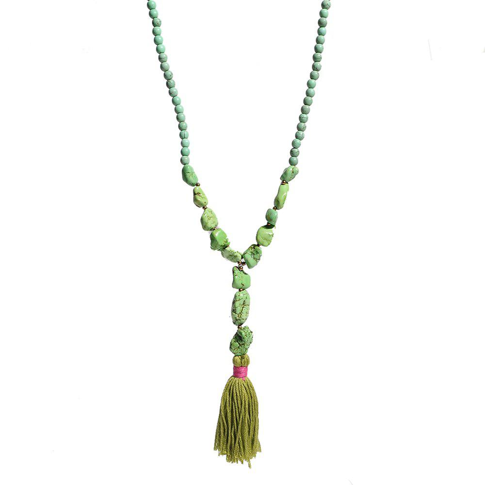 Green Stone Beads Necklace Indian Jewelry Vintage Long Chain Tassel Necklace For Women Wedding Jewelry
