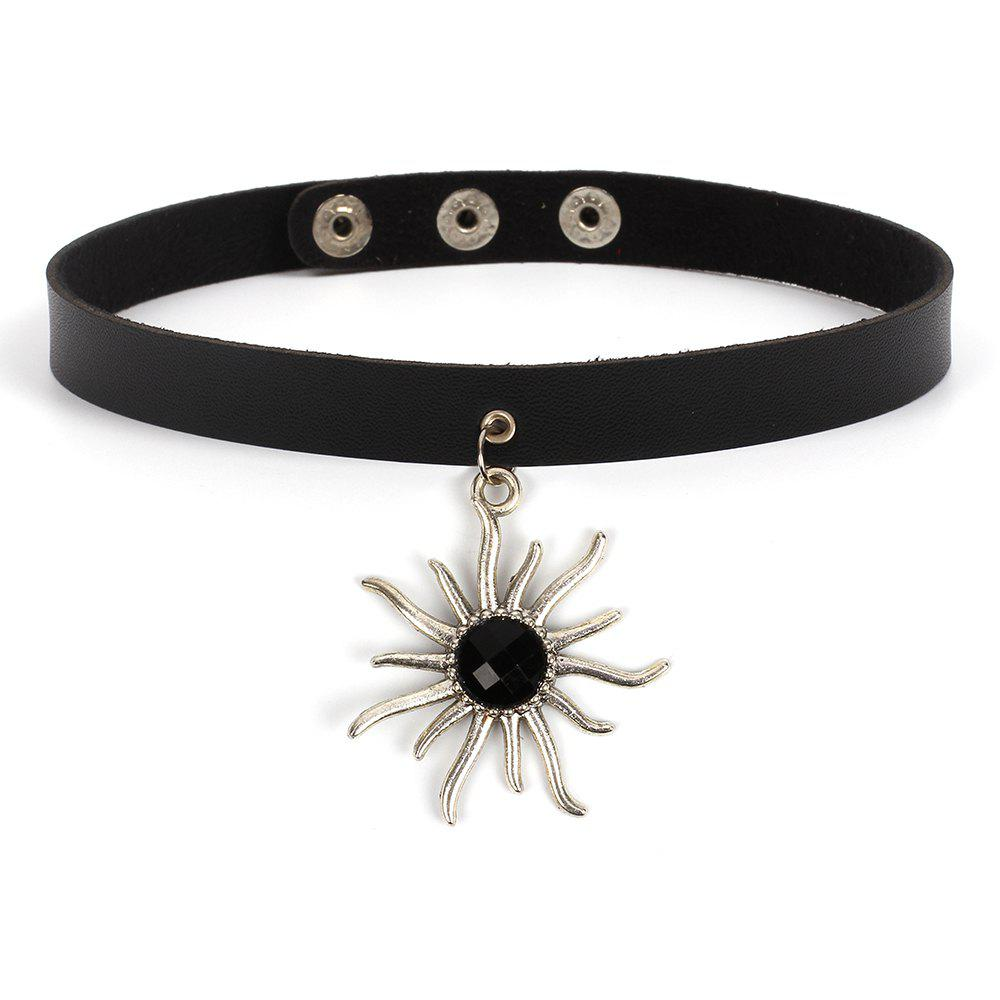 Fashion Punk Sun Flower Necklace Personality Exaggerated Choker Accessories