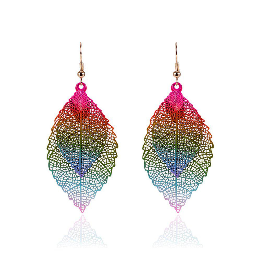Women Girls Fashion Jewelry Hollow Leaves Pendant Metal Drop Earrings Fashion Jewelry