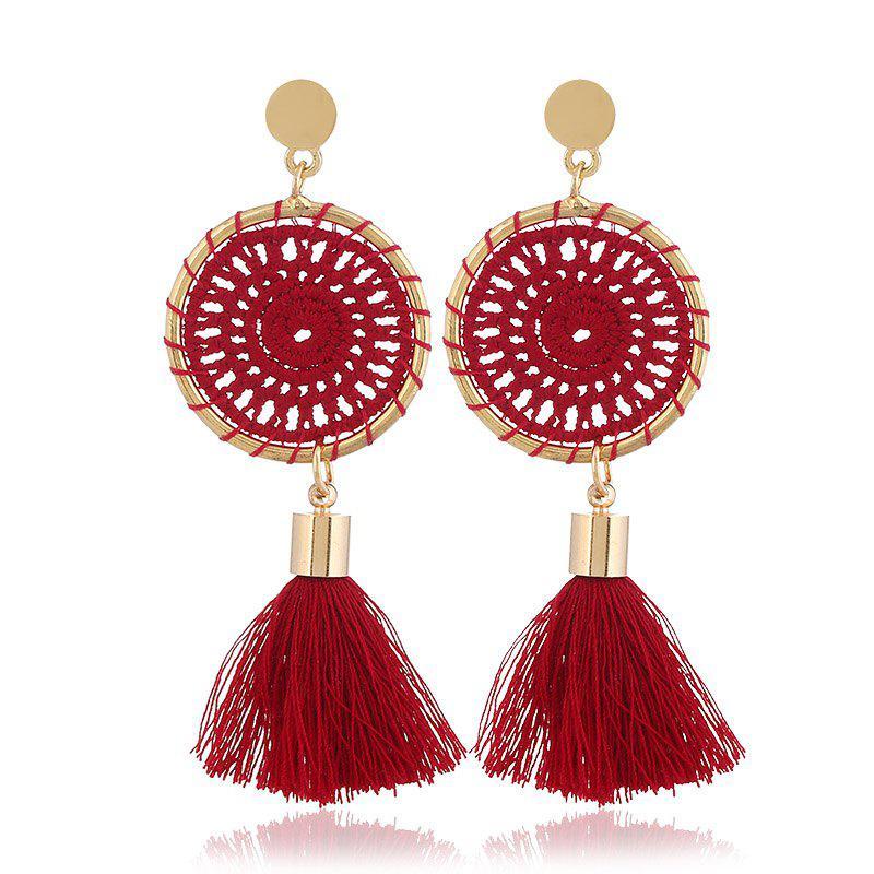 Gold Round Cotton Boho Ethnic Tassel Drop Earrings Women Ladies 2018 Fashion Earring Bohemia Statement Vintage