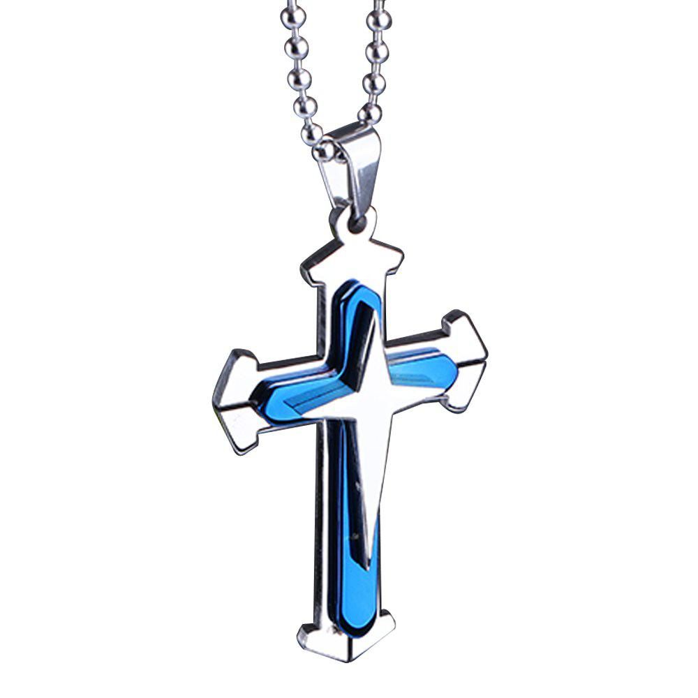 Stainless Steel Cross Pendant Mens Necklace Chain Accessories