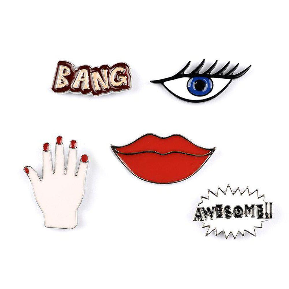 Fashion Woman Collar Shirt Brooch Set Sexy Red Lipstick Hand Set Eye Brooches for Women Jewelry