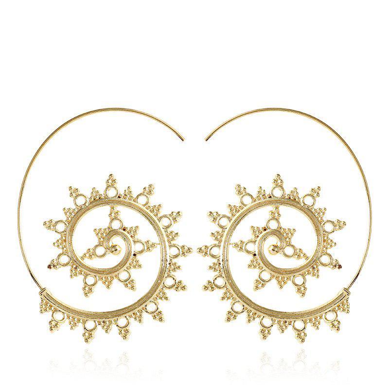 Punk Gold Sliver Star Hollow Spiral Dangle Earrings Women Ladies Tribal Gear Drop Earring Circle Ear Festival Jewelry