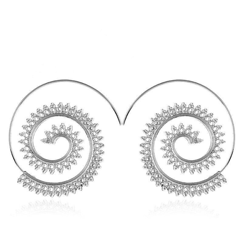Fashion Punk Gold Sliver Hollow Spiral Dangle Earrings Women Ladies Tribal Gear Drop Earring Circle Ear Festival Jewelry