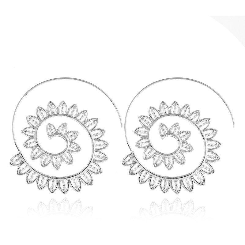 Design Punk Gold Sliver Hollow Spiral Dangle Earrings Women Ladies Tribal Gear Drop Earring Circle Ear Festival Jewelry
