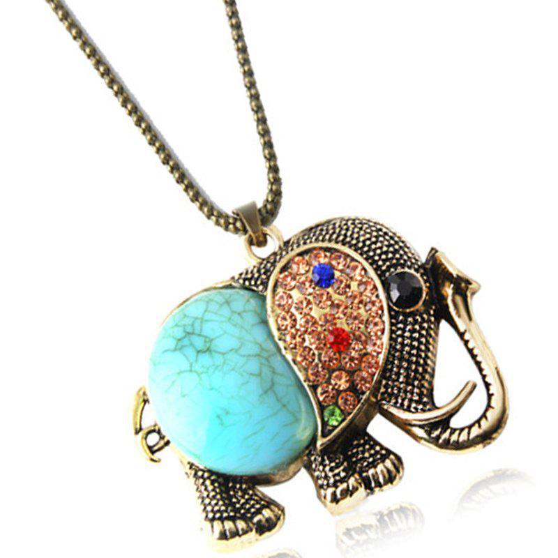 Fashion Vintage Jewelry Accessories Bohemia Long Design  Gem Rhinestone Elephant Necklace Pendant for Women