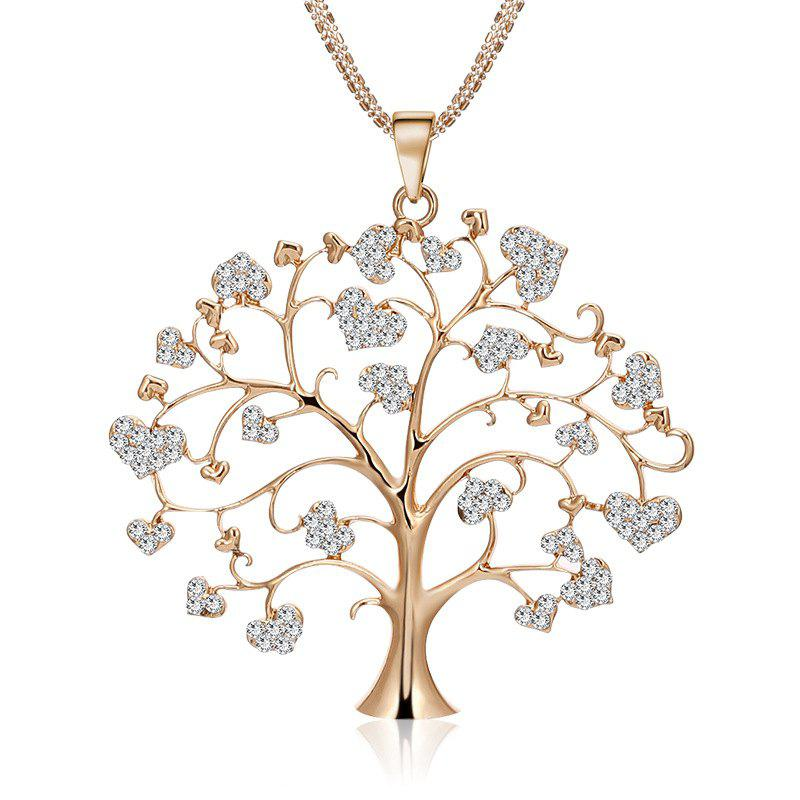 Simple Heart-Shaped Diamond Necklace Pendant Creative Personality Life Tree Sweater Chain