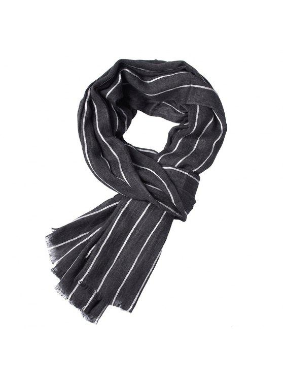 buy Newest Fold Yarn-Dyed Striped Wrinkled Warm Soft Scarves for Men - BLACK