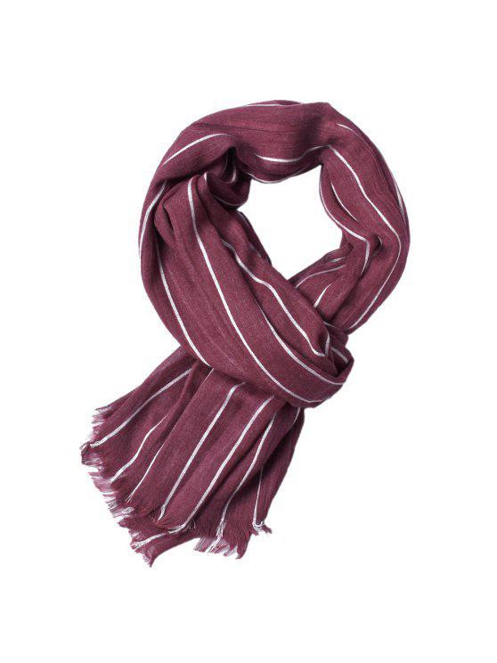 Le plus nouveau Fold Yed-Dyed rayé chaud doux Foulards pour les hommes - Bourgogne