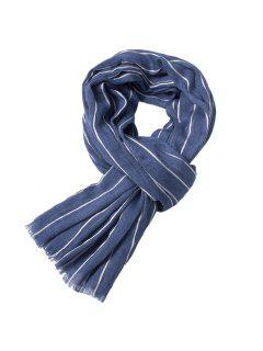 Newest Fold Yarn-Dyed Striped Wrinkled Warm Soft Scarves For Men - Windows Blue