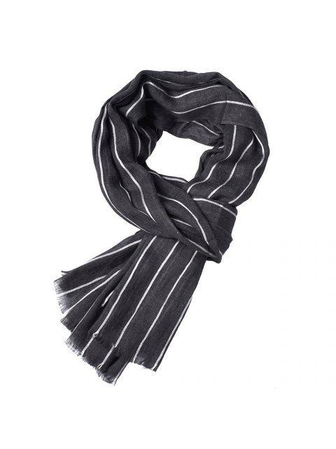 Le plus nouveau Fold Yed-Dyed rayé chaud doux Foulards pour les hommes - Noir  Mobile