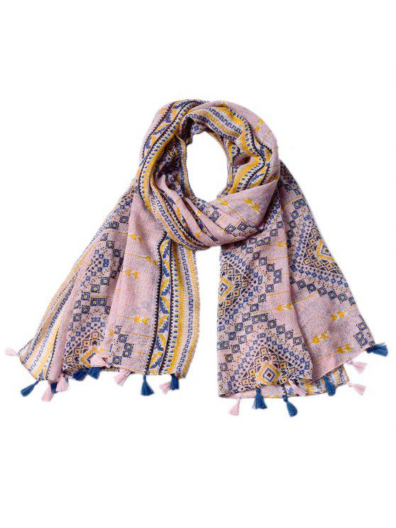 sale New Ladies Rhombus Printed Tassel Viscose Scarf - ROSE