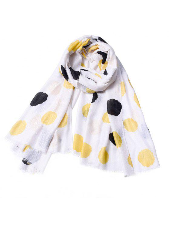 new Women Fashinable Dot Printed Tassel Cotton Scarf - PARCHMENT