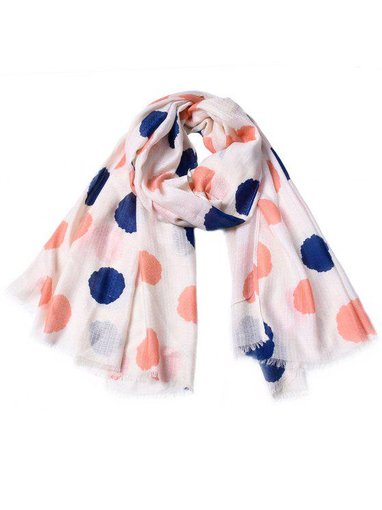 hot Women Fashinable Dot Printed Tassel Cotton Scarf - PIG PINK