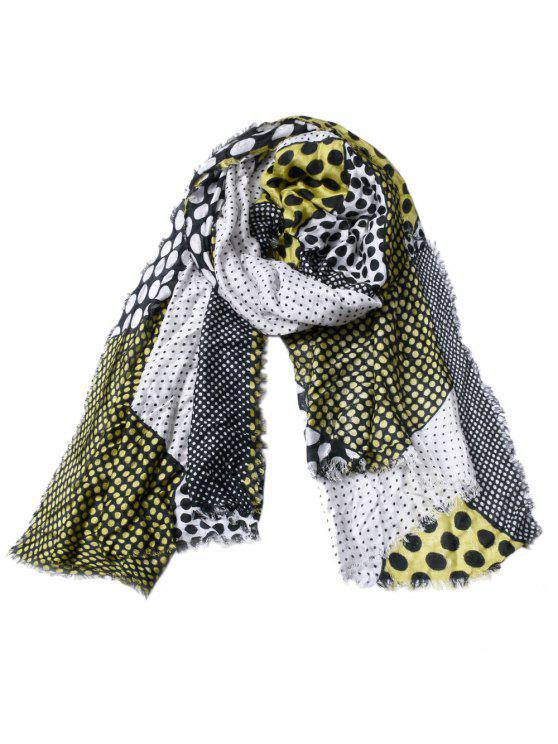 lady Women Dot Print Cotton Tassel Scarf Shawl - AVOCADO GREEN