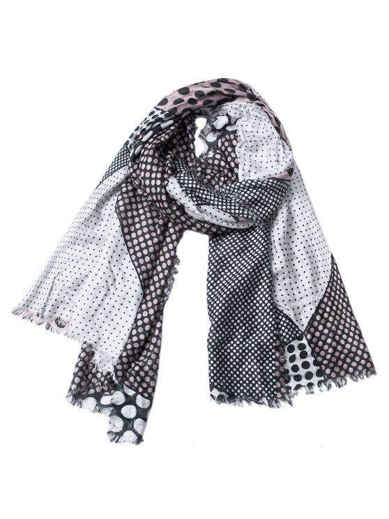 best Women Dot Print Cotton Tassel Scarf Shawl - DARK GRAY
