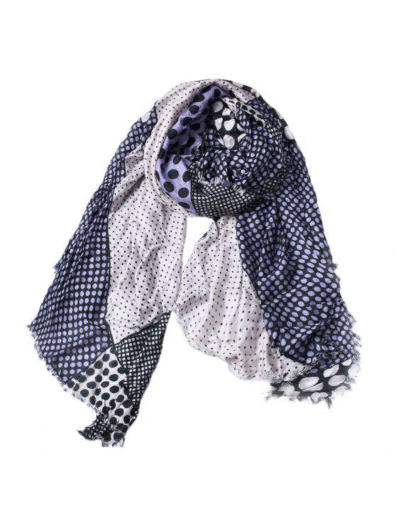 Mulheres Dot Imprimir Cotton Tassel Scarf Shawl - Ardósia Azul